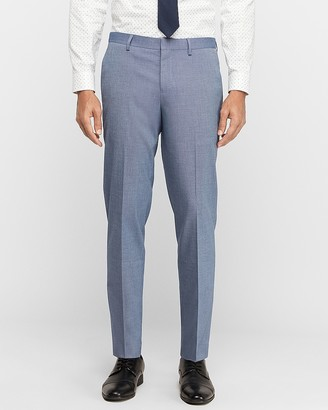 Express Slim Blue Stretch Wrinkle-Resistant Dress Pant
