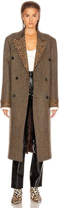 R 13 Double Breasted Coat in Green Herringbone with Leopard | FWRD
