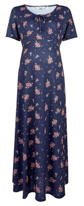 Dorothy Perkins Womens Dp Maternity Navy Floral Print Scoop Bow Neck Midi Dress