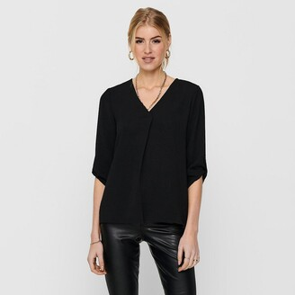 Jacqueline De Yong V-Neck Blouse with 3/4 Length Sleeves