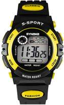 Dreamy-SYNOKE Yellow Waterproof Digital Sport Kids Watches for Students Boys and Girls