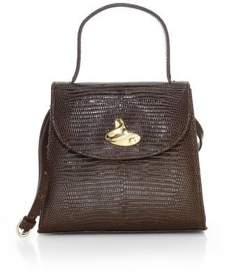 Little Liffner Little Lady Swirl Lizard-Embossed Leather Top Handle Bag