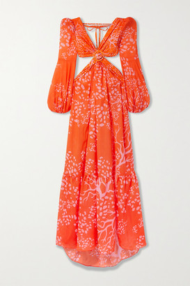 PatBO Cutout Printed Chiffon And Stretch-jersey Maxi Dress - Orange