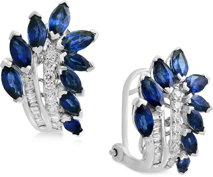 Effy Royale Blue by Sapphire (3-1/10 ct. t.w.) & Diamond (1/4 ct. t.w.) Drop Earrings in 14k White Gold