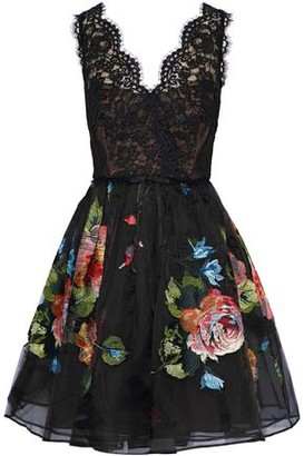 Marchesa Corded Lace-paneled Embroidered Silk-organza Mini Dress