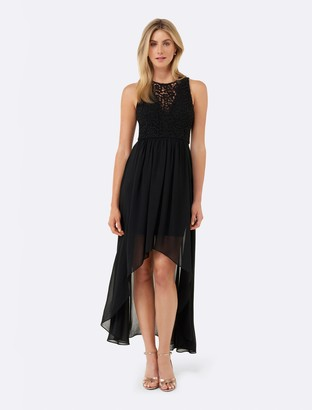 Forever New Linda Lace Bodice High Low Dress - Black - 8