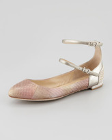 Brian Atwood Amata Double-Strap Ballerina Flats, Light Pink