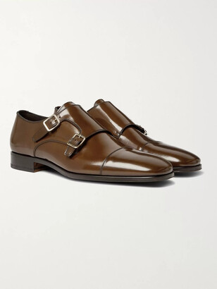 Tom Ford Spazzolato Leather Monk-Strap Shoes