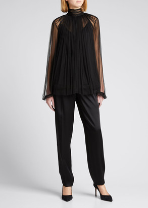 Jason Wu Collection Mock-Neck Silk Tulle Top