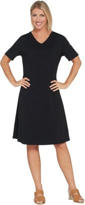 Denim & Co. Short Sleeve Straight Hem Dress with Lace Up Back Detail
