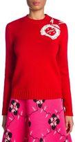 Miu Miu Lana Intarsia Embroidered Virgin Wool Sweater