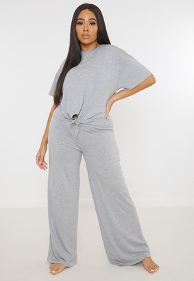 Missguided Plus Size Grey Knot Front Wide Leg Pyjama Set