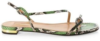 Aquazzura Serpentine Snakeskin Slingback Sandals
