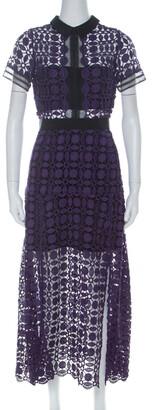 Self-Portrait Purple Guipure-Lace Short Sleeve Midi Dress M