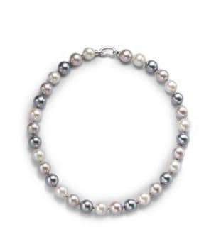 "Majorica 12MM Multicolor Round Pearl& Sterling Silver Strand Necklace/17"""