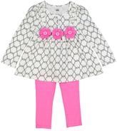 Kids Headquarters Gray & Pink Flower Tunic & Leggings - Infant