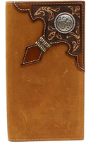 Ariat Brown Rodeo Embossed Ribbon Leather Wallet
