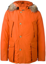 Woolrich fur collar parka - men - Cotton/Feather Down/Polyamide/Coyote Fur - M