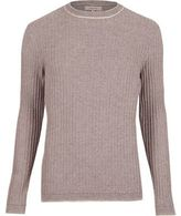 River Island Mens Purple ribbed crew neck slim jumper