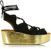See by Chloe Liana Black Suede Lace-up Wedge Sandal