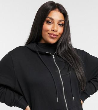 ASOS DESIGN Curve ultimate organic cotton zip through hoodie in black