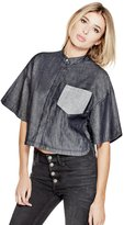 GUESS Women's Cropped Boxy Chambray Shirt
