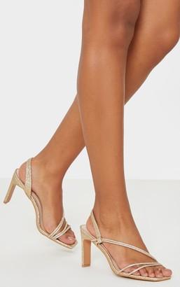 Stylish Gold Mid Heel Slingback Asymmetric Strap Sandal