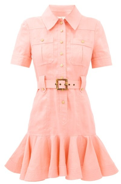 Zimmermann Poppy Belted Linen Mini Shirt Dress - Pink