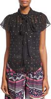 Marc Jacobs Crystal-Embellished Flutter-Sleeve Shirt, Black
