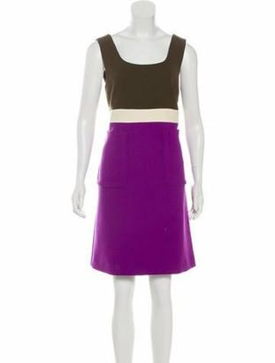 Marni Colorblock Virgin Wool Dress w/ Tags Navy