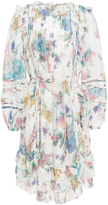 Zimmermann Crochet-trimmed Ruffled Floral-print Georgette Dress