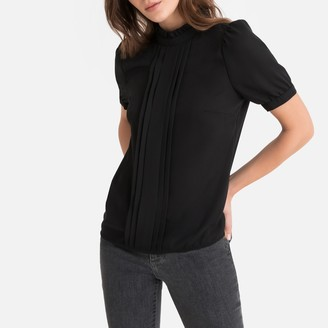 La Redoute Collections High Neck Pleated Blouse with Short Puff Sleeves