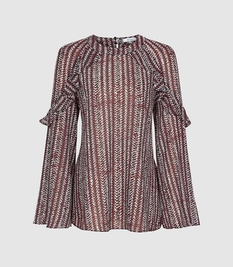 Reiss Adelaide - Printed Ruffle Detail Blouse in Berry