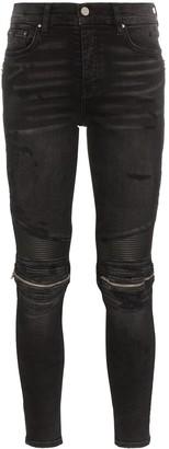 Amiri MX2 high-rise zip-detailed skinny jeans