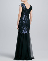 Tadashi Shoji Scalloped Lace & Tulle Gown