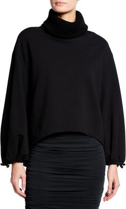 Alice + Olivia Micha Turtleneck Blouson-Sleeve Sweatshirt