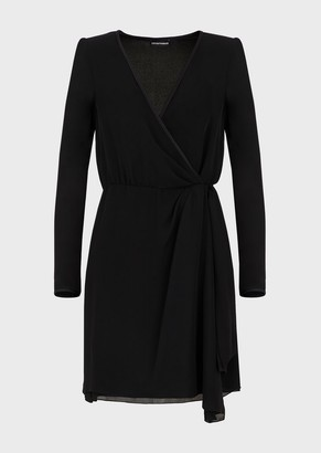 Emporio Armani Silk Double-Georgette Crossover Dress With Bow