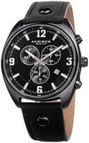 Akribos XXIV Men's Swiss Quartz Chronograph Leather Strap Watch