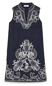 Tory Burch Embroidered Sleeveless Tunic Dress