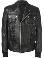 Balmain Lace-up Biker Jacket - Black - Size IT60
