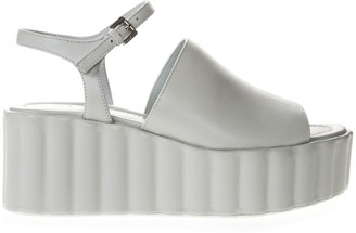 Strategia 70mm Wedged White Leather Sandal