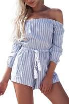 Simplee Apparel Womens Off shoulder Long Sleeve Strip Short Jumpsuit Romper