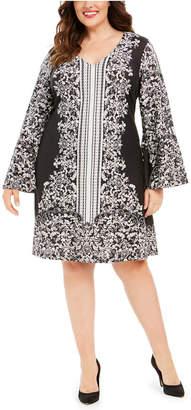 Robbie Bee Plus Size Printed Jersey Bell-Sleeve Dress