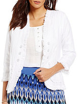 Multiples Ruffle Trim Solid Linen Jacket