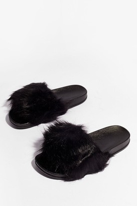 Nasty Gal Womens Ready Faux Fur Our Close Up Moulded Sliders - Black - 5, Black