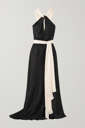 Redemption Belted Two-tone Cutout Silk-satin Gown - Black