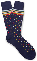 Paul Smith Patterned Cotton-blend Socks - Storm blue