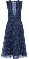 Lela Rose Satin-Trimmed Fil Coupé Chiffon Midi Dress