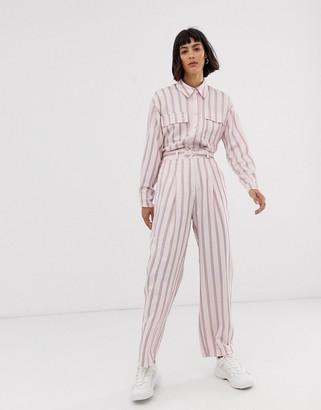 Asos pink vertical stripe pant