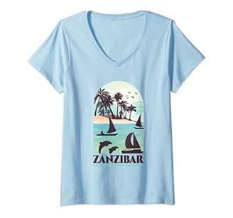 Womens Zanzibar - Vacation Souvenir Graphic V-Neck T-Shirt